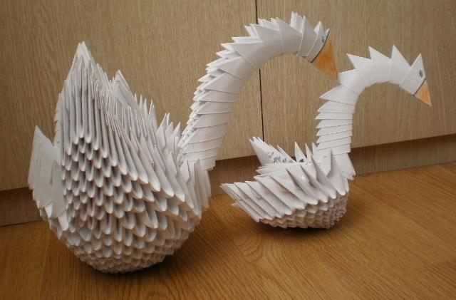 Оригами пошаговый лебедь