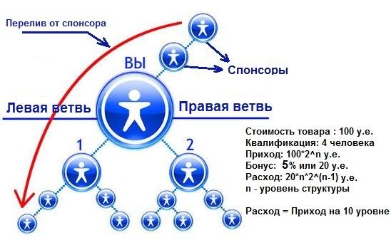 Схема работы бинарного маркетинга