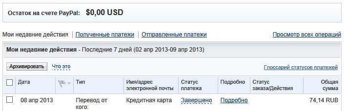 Ликвидация минуса на счету PayPal